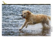Dog Running On Shallow Lake Shore Carry-all Pouch