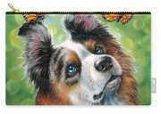 Dog With Butterflies Carry-all Pouch