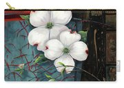 Dogwood Teal And Gold Carry-all Pouch by Lucy West