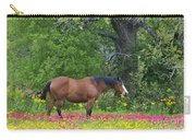 Domestic Horse In Field Of Wildflowers Carry-all Pouch