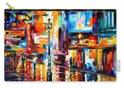 Downtown Lights - Palette Knife Oil Painting On Canvas By Leonid Afremov Carry-all Pouch