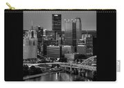 Downtown Pittsburgh At Twilight - Black And White Carry-all Pouch