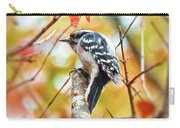 Downy Woodpecker In Autumn Forest Carry-all Pouch