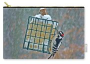Downy Woodpecker In The Snow Carry-all Pouch