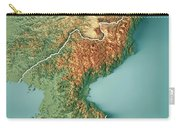Dpr Korea 3d Render Topographic Map Border Carry-all Pouch