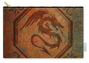 Dragon In An Octagon Frame With Chinese Dragon Characters Yellow Blue Tint  Carry-all Pouch