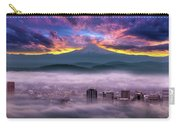 Dramatic Sunrise Over Foggy Downtown Portland Carry-all Pouch