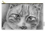 Drawing Of A Cat In Black And White Carry-all Pouch