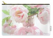 Dreamy Shabby Chic Cottage Pink Peonies In Vase - Romantic Pink Peonies Floral Bouquet Carry-all Pouch