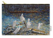 Yellow Billed Egrets On Driftwood Carry-all Pouch