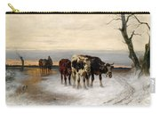 Driving The Herd Home In Wintry Landscape Carry-all Pouch