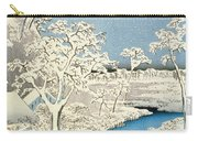 Drum Bridge And Setting Sun Hill At Meguro Carry-all Pouch by Hiroshige