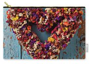 Dry Flower Wreath On Blue Door Carry-all Pouch by Garry Gay
