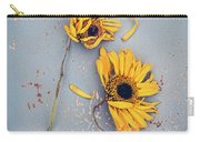 Dry Sunflowers On Blue Carry-all Pouch