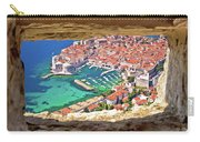 Dubrovnik Historic City And Harbor Aerial View Through Stone Win Carry-all Pouch