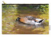 Duck Submerge It Head Into The Water Looking For Food In The River 2 Carry-all Pouch