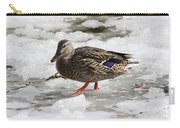Duck Walking On Thin Ice Carry-all Pouch