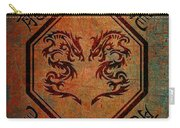 Dueling Dragons In An Octagon Frame With Chinese Dragon Characters Yellow Tint  Carry-all Pouch
