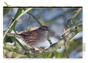 Dunnock On A Snowy Day In Winter Carry-all Pouch
