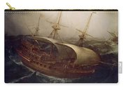 Dutch Battleship In A Storm Carry-all Pouch by Hendrick Cornelisz Vroom