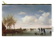 Dutch Landscape With Skaters Carry-all Pouch by Salomon van Ruysdael