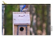 Eastern Bluebird Perched On Birdhouse 3 Carry-all Pouch