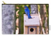 Eastern Bluebird Perched On Birdhouse Carry-all Pouch