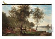 Edvard Bergh, Summer Landscape With Cattle And Birches. Carry-all Pouch