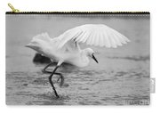 Egret Hunting In Black And White Carry-all Pouch