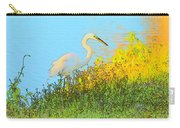 Egret In The Lake Shallows Carry-all Pouch