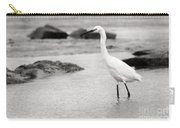 Egret Patrolling In Black And White Carry-all Pouch