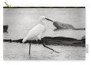 Egret Step In Black And White Carry-all Pouch
