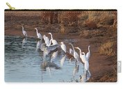 Egrets Gathering For Fishing Contest. Carry-all Pouch
