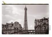 Eiffel Tower Black And White 3 Carry-all Pouch