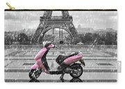 Eiffel Tower In The Rain With Pink Scooter Of Paris. Black And W Carry-all Pouch