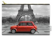 Eiffel Tower With Car. Black And White Photo With Red Element. Carry-all Pouch