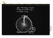 Einstein's Bicycle Quote - White Carry-all Pouch