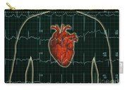 Ekg And Heart Over Torso Carry-all Pouch