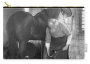 Elderly Blacksmith Shoeing Horse Carry-all Pouch