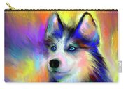Electric Siberian Husky Dog Painting Carry-all Pouch by Svetlana Novikova