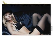 Elegant Young Woman In Black Lingerie Carry-all Pouch