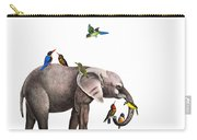 Elephant With Birds Illustration Carry-all Pouch