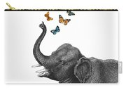 Elephant Blowing Butterflies From His Trunk Carry-all Pouch