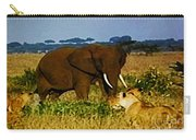 Elephant And The Lions Carry-all Pouch