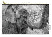 Elephant And Tree Trunk Black And White Carry-all Pouch