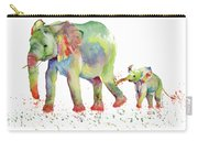 Elephant Family Watercolor  Carry-all Pouch by Melly Terpening