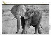 Elephant Happy And Free In Black And White Carry-all Pouch