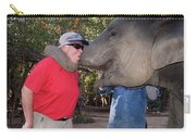 Elephant Kissing Man Holding Bananas Carry-all Pouch