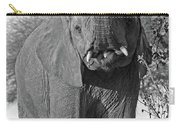Elephant's Supper Time In Black And White Carry-all Pouch