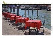 Empty Canal Side Tables Awaiting Hungry Customers In Venice, Italy  Carry-all Pouch